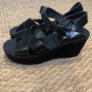 KORKEASE Myrna Wedge Leather Suede Sandal Vachetta